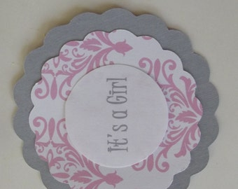 Pink Gray Damask Its a Girl Tags - Baby Shower Damask Tags Cup Cake Toppers