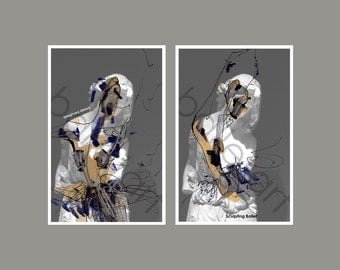 gift for dancer, mothers day gift, ballet art, print set, wall art, abstract painting, mixed media, 11x17,  EtsyHolidaySale, figure drawing