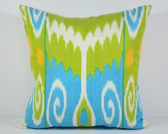 blue and green ikat pillow cover cushion case, blue green, blue green pillows, uzbek ikat, Silkway pillows ikats, sofa pillows home pillows