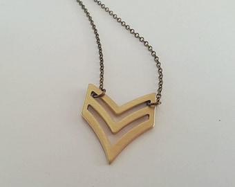Chevron brass pendant with antique bronze chain necklace