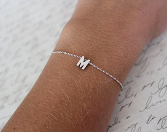 Tiny Silver Initial Bracelet...Small Initial Bracelet...bridal party jewelry gift idea birthday