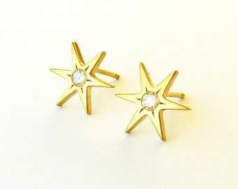 18K Gold stud earrings, Diamond Stud Earrings, Gold star earrings, Diamond earrings, Yellow Gold earrings