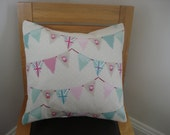 Pillow Bunting Union Jack roses pink turquoise green spots 16 or 18 inch decorative cushion cover