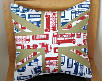 Pillow Union jack london transport bus taxi telephone box red blue gold 16 inch decorative cushion cover