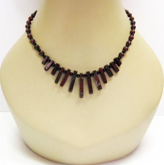 RESERVED for Wendy Poppy Jasper and Black Onyx Necklace Gemstone Necklace - Black Necklace - Fan Necklace - Fashion Jewelry