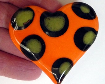 Bright Orange Heart  Brooch with Lime Green and Black Polka Dots