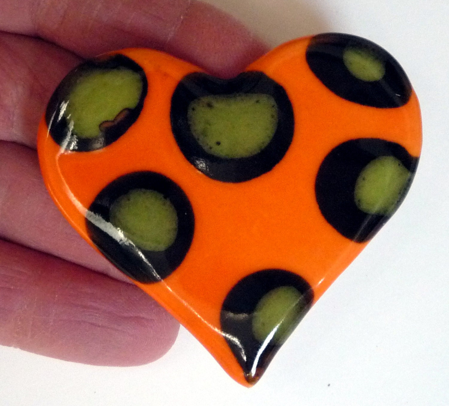 Bright Orange Heart Brooch With Lime Green And Black Polka
