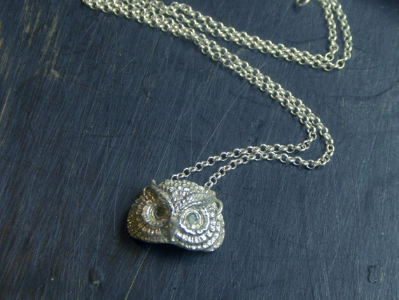 MERLIN .  Sterling Silver cast  and green peridot Eyes pendant on Sterling chain Hand forged by Chymiera