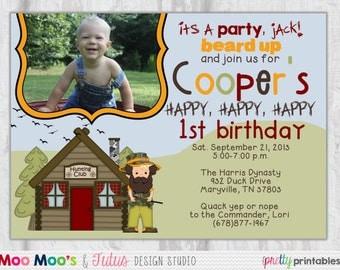 Duck Birthday Invitation - LIL' DUCKY Design - Printable Duck Dynasty Inspired Birthday Invitation by Moo Moo's & Tutus Design Studio