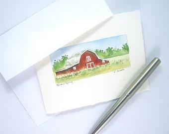Original Watercolor Art Card - Red Barn in Spring