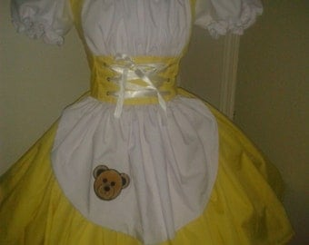 Goldilocks Halloween Costume Fairytale Storybook Dress Yellow & White Womens Adult Handmade Custom Size Made to Measure including Plus Sizes