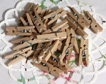 """50 Mini Clothespins 1"""" long Tiny Clothespins, Party Supplies, Gift Wrap, Party Favors, Wedding Favors, Photo Clips"""