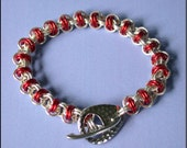 Chainmaille Kit with Tutorial - Candy Apple Red - Chain Maille Bracelet in Non Tarnish Silver Plate Jump Rings