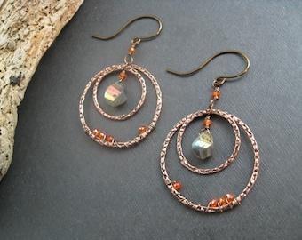 Labradorite Hoop Earrings, Hammered Copper Wire Wrapped Gemstone Earring, Bohemian Earrings, Labradorite Faceted Beads Gypsy Dance III