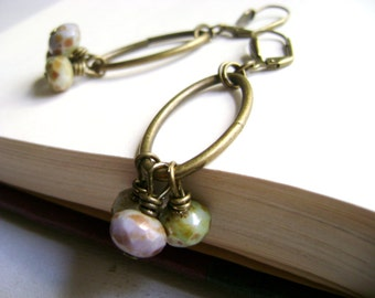 Vintage inspired - Believe -  green lilac and earthy beads with antique bronze earrings