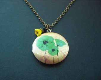 beautiful teal green wild flower altered photo locket necklace