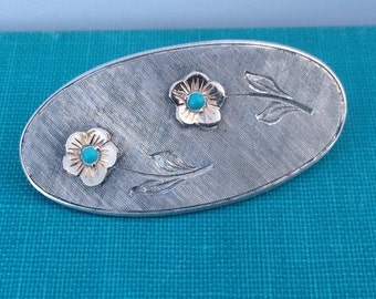 Vintage sterling silver brooch, 18kt gold flowers with turquoise bead centers