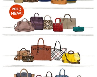Designer Dream Purse and Handbag Closet Oversized Archival Fashion Illustration Print: Hermes Birkin, Chanel, Louis Vuitton, Gucci, Coach