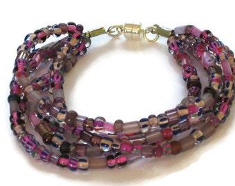 Purple Beaded Bracelet, Gifts for Women Mom Wife Sister Daughter Grandma Teacher Under 20, Stocking Stuffers
