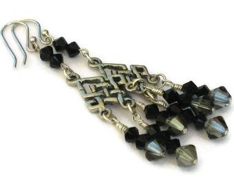 Black Swarovski Crystal Chandelier Earrings, Graduation Gifts, Gifts for Women Mom Wife Sister Daughter Grandma Under 25, Stocking Stuffers