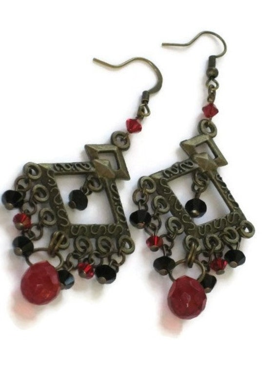 Black and Red Swarovski Chandelier Earrings, One of a Kind, Birthday Gifts, Stocking Stuffers, Gifts for Women Mom Wife Sister Under 30