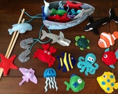 Magnetic fishing game. Under the sea party favors. Sea animals, fish, whale, dolphin turtle shark mermaid crab boat rods