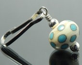 Zipper Pull for purses, jackets, backpacks and wallets, ivory with turquoise blue polka dots, handmade lampwork glass bead
