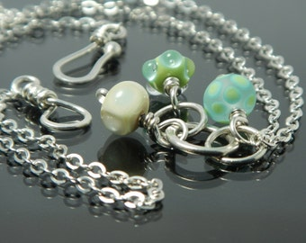 Lampwork Pendant Necklace, blue and green, sterling silver, circles, lampwork glass beads, dainty cluster, artisan jewelry, artisan necklace