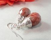 Autumn Jasper Faceted Teardrops, Silver Wire Wrapped Earrings