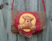 SALE!!! was 120.00 now 85.00 Brown colored Antelope Skin Leather Purse/Shoulder Bag with a Cute handmade Teddy Bear design on the flap