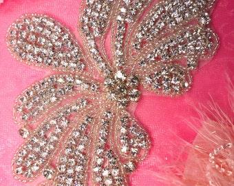 """JB89 DIY Bridal Sash Crystal Rhinestone Silver Beaded Crystal Rhinestone Applique 6.5"""" JB89-slcr"""