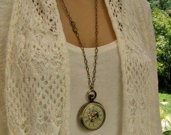 Infinity Watch Necklace, Steampunk, Antique Bronze - Mechanical Pocket Watch Necklace - Watch - MNW814nk