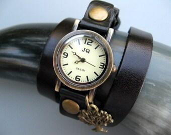 Sale - Tree Lovers Wrap Watch - Wrap Around Brown Leather Wrap Watch - Bronze Wrist Watch - Womens Watch