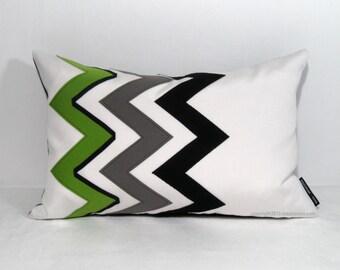 Modern Outdoor Pillow Cover, Lime Green Chevron, Geometric Throw Pillow Case, Grey Gray, Black & White, Decorative Sunbrella Cushion Cover