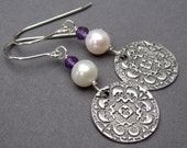 Birthstone Dangle Earrings Freshwater Pearl and Amethyst Gemstone and PMC Fine Silver with Sterling Silver Ear Hooks