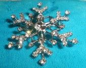 Snowflake Winter Rhinestone Brooch 1.5 inch Sparkle