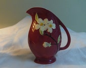 Pink Jug Ewer with Dogwood Flowers by Shorter and Sons England 1940s Handpainted