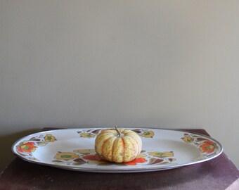 Vintage Large Oval Serving Plate - Porcelain Enameled Steel Retro Cookware- Made in Japan