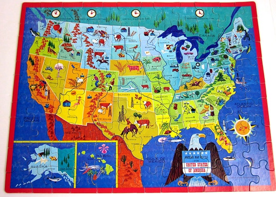 United States of America Picture Map Whitman Puzzle 1965 / Complete