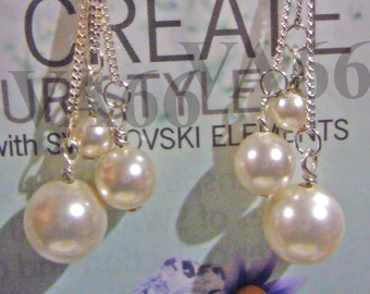 Create Your style Triple Pearl Earrings 925 Sterling Silver Swarovski Pearls Ivory White Wire Wrapped 27 Col Bride, Bridesmaids, mob, prom