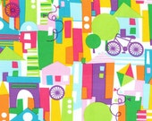 Happy Town Fabric by Michael Miller Multicolored Block Like Buildings City Streets with Bicycles on White