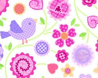 OOP HTF one yard, 16 inches Pam Kitty Fabric Sweet Things 12107 Blue Gingham Birds With Pink Floral Flowers on WHITE