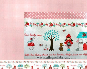 Little Red Riding Hood by Riley Blake OOP HTF Fabric Border Print 9 Inches Tall Story Scenes Polka Dots Dot on Pink