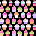Pam Kitty Fabric Sweet Things 12154 Multicolored Decorative Cup Cakes In a Row on BLACK