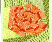 Abstract Orange Flower Wall Hanging Quilt