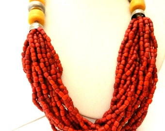 Spectacular necklace 1970 - ethnic chic - Coral and amber - multi strand coral --Art-800/2-