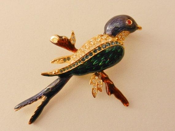50s Vintage Rhinestone  Enamel Figural Bird on Branch Brooch--precious and adorable bird brooch/pin---art.554 -