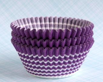 Purple Circle Cupcake Liners, Purple Stripe Cupcake Liners, Wedding Cupcake Liners, Violet Cupcake Liners (45)