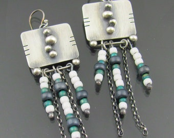 sterling silver tribal earrings - glass bead earrings - seed bead earrings - bubble earrings - ooak earrings