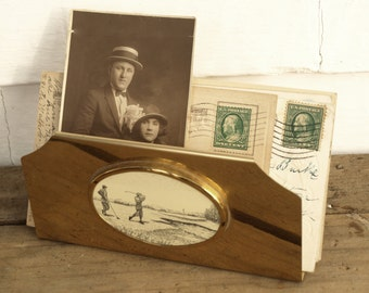 SHIPPING INCLUDED - Lovely Holiday Gift for Golf Enthusiast, Vintage, Mail Holder, Letter Holder, Napkin Holder, Gold Tone, Golf Image
